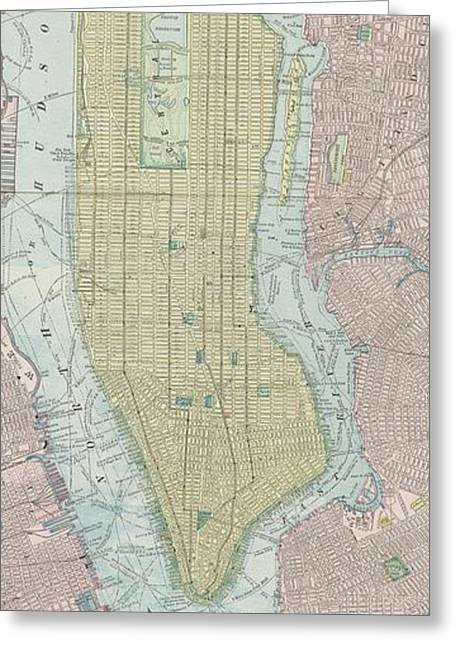 Vintage Map Of New York City - 1901 Greeting Card by CartographyAssociates