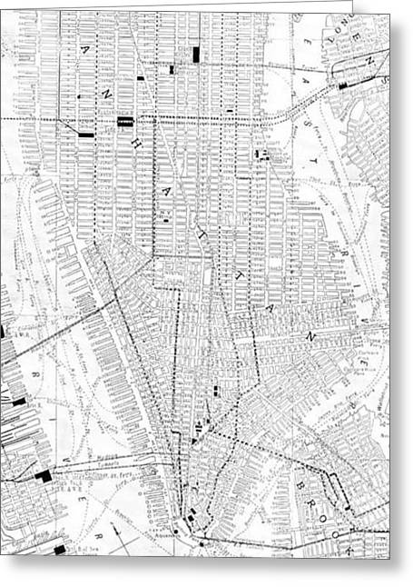 Vintage Map Of New York City - 1911 Greeting Card by CartographyAssociates