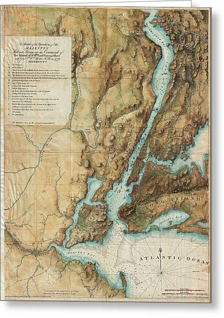 Vintage Map Of New York City Harbor  Greeting Card by CartographyAssociates