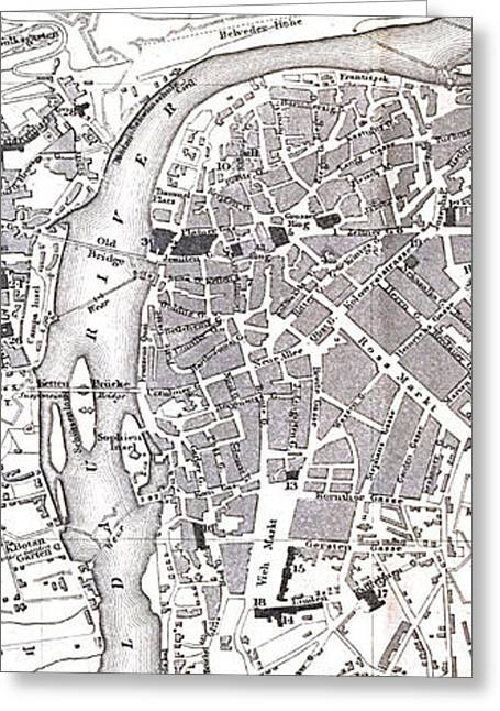Vintage Map Of Prague - 1858 Greeting Card