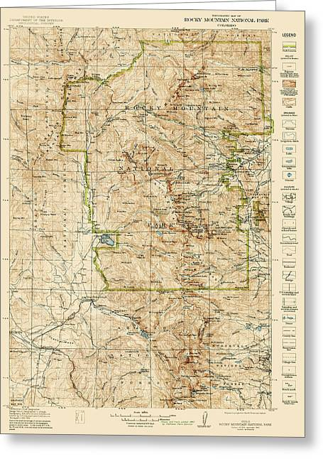 Vintage Map Of Rocky Mountain National Park - Colorado - 1919/1940 Greeting Card