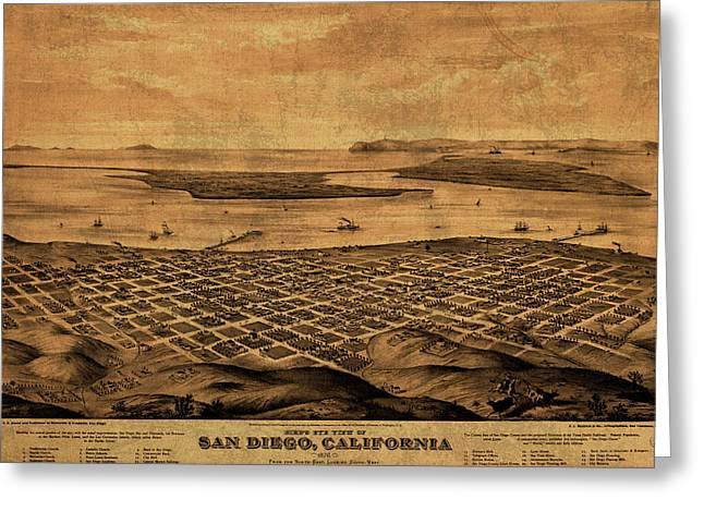 Vintage Map Of San Diego California Street Map Birds Eye View Schematic Greeting Card by Design Turnpike