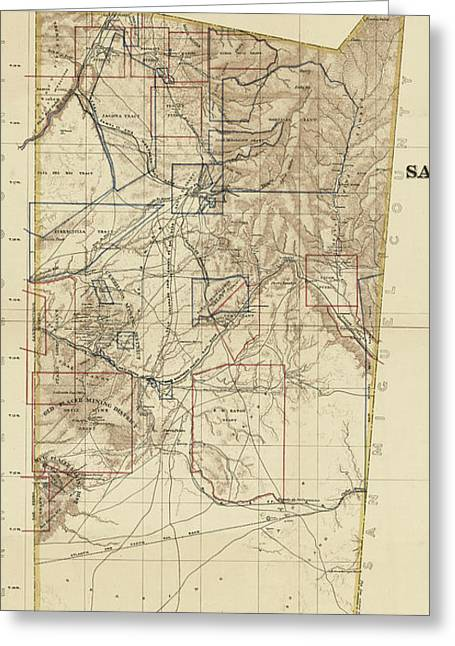 Vintage Map Of Santa Fe County Nm - 1883 Greeting Card by CartographyAssociates