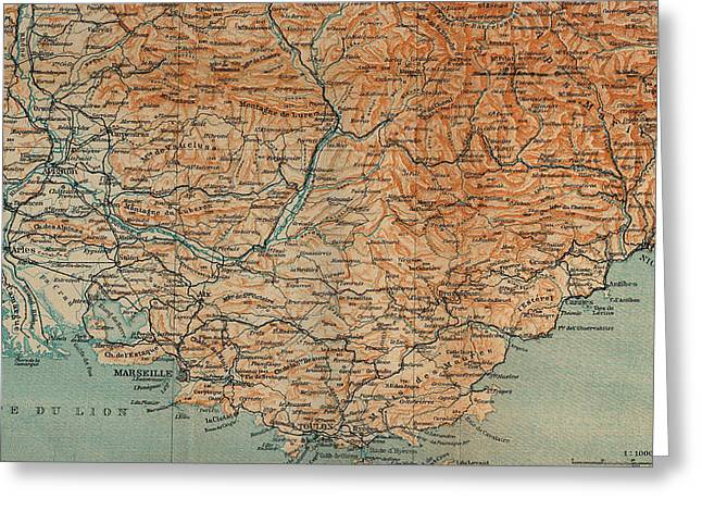 Vintage Map Of Southern France - 1914 Greeting Card by CartographyAssociates
