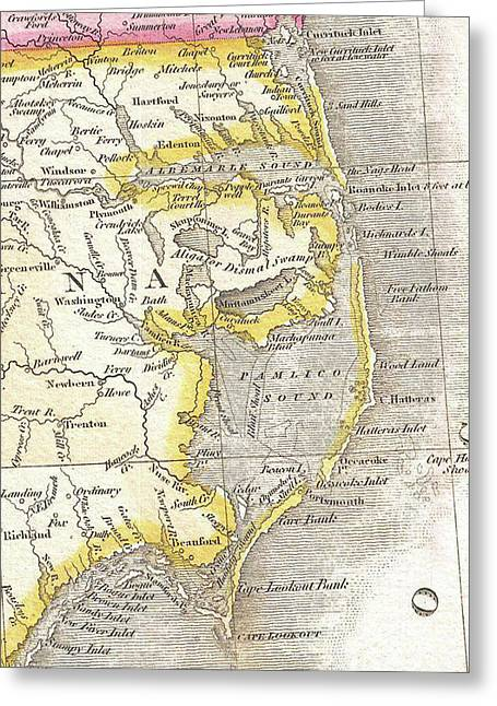 Vintage Map Of The Outer Banks - 1818 Greeting Card by CartographyAssociates