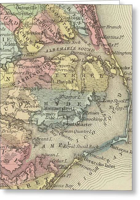 Vintage Map Of The Outer Banks - 1859 Greeting Card by CartographyAssociates