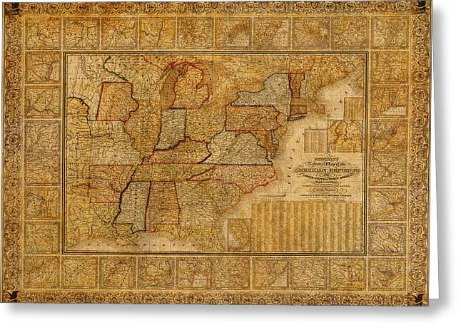 Vintage Map Of The United States Of America Usa Circa 1845 On Worn Distressed Parchment Greeting Card by Design Turnpike
