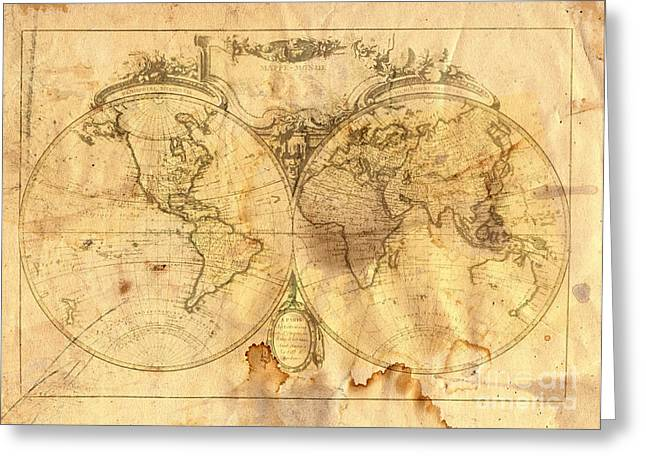 Earth Burned Greeting Cards - Vintage Map Of The World Greeting Card by Michal Boubin