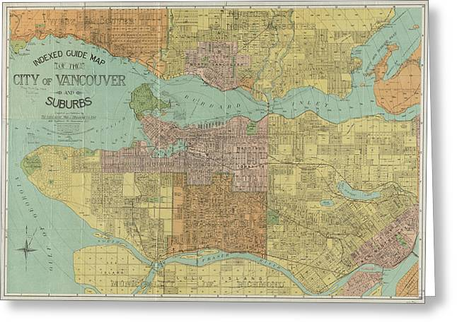 Vintage Map Of Vancouver Canada - 1920 Greeting Card