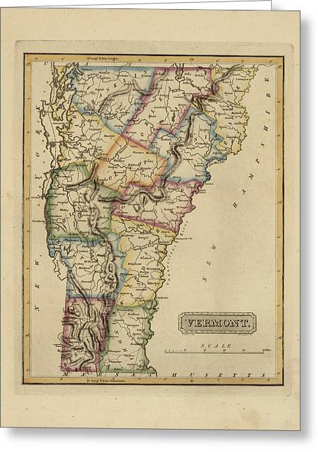 Antique Map Of Vermont Greeting Card
