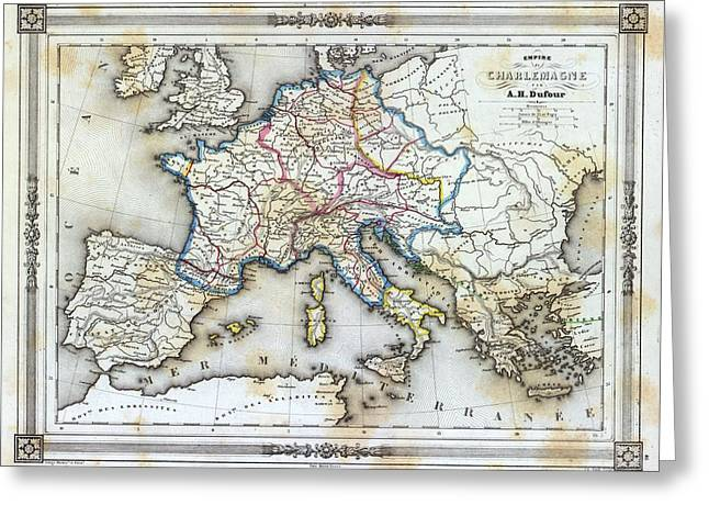 Vintage Map Of Western Europe Greeting Card by Gillham Studios