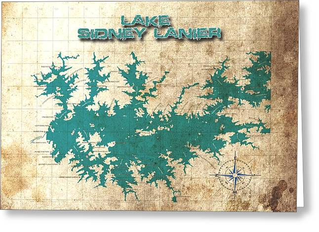 Vintage Map - Sidney Lanier Ga Greeting Card by Greg Sharpe