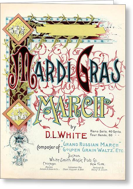 Vintage Mardi Gras March Poster Greeting Card