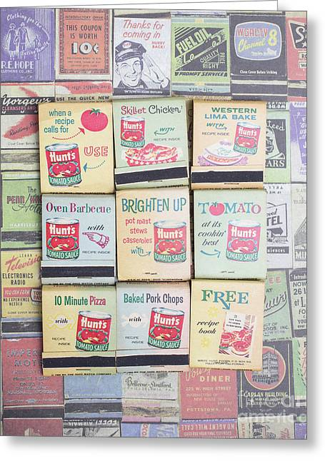 Greeting Card featuring the photograph Vintage Matchbooks by Edward Fielding
