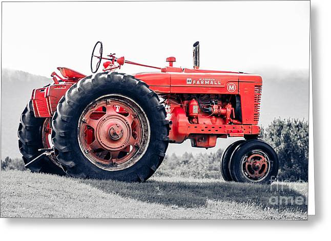 Vintage Mccormick Farmall Tractor Greeting Card by Edward Fielding