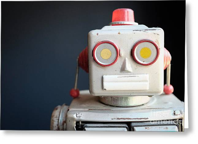 Vintage Mechanical Robot Toy Greeting Card by Edward Fielding