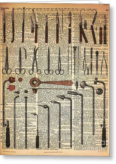 Vintage Medical Instruments Greeting Card by Jacob Kuch