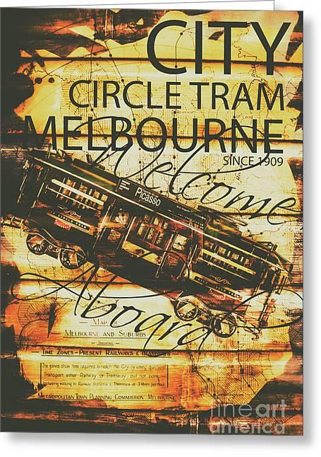 Vintage Melbourne Tram Tin Sign Greeting Card