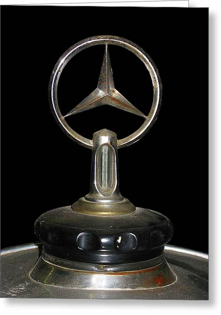 Greeting Card featuring the photograph Vintage Mercedes Radiator Cap by David and Carol Kelly