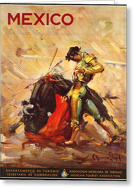 Vintage Mexico Bullfight Travel Poster Greeting Card by George Pedro