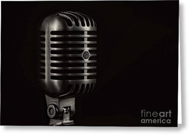 Vintage Microphone Black And White Greeting Card by Edward Fielding