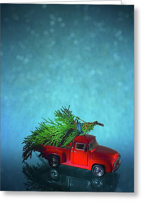 Vintage Miniature Truck Delivers Christmas Tree On Snow Background Greeting Card
