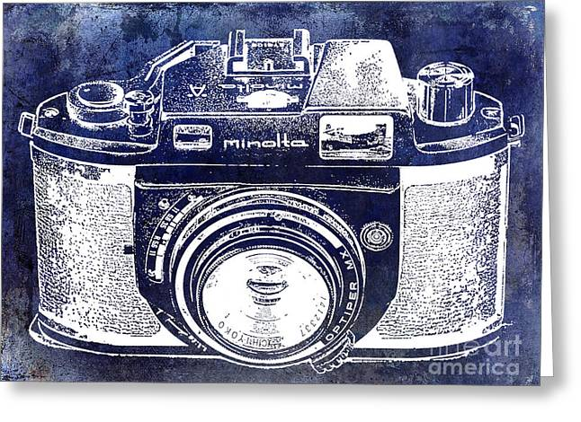 Vintage Minolta Camera Blue Greeting Card by Jon Neidert