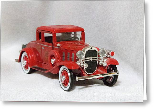 Greeting Card featuring the photograph Vintage Model Fire Chiefcar by Linda Phelps