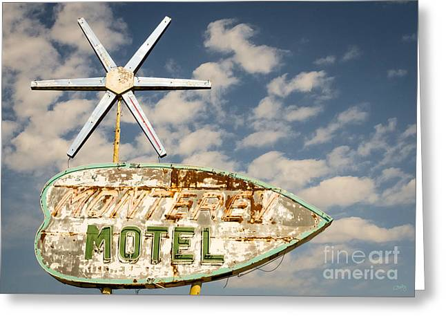 Vintage Monterey Motel Neon Sign Greeting Card