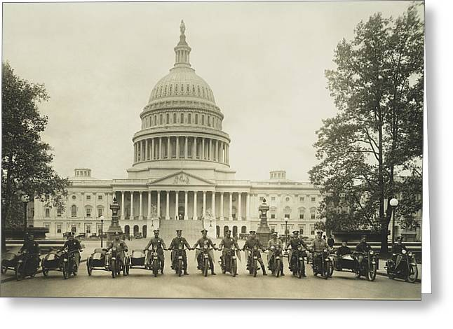 Vintage Motorcycle Police - Washington Dc  Greeting Card by War Is Hell Store