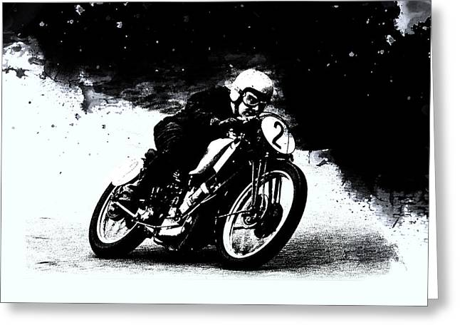 Vintage Motorcycle Racer Greeting Card by Mark Rogan
