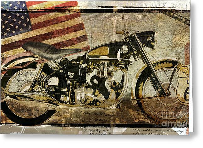 Vintage Motorcycle Road Demon Greeting Card by Mindy Sommers