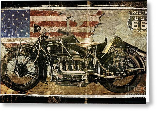 Vintage Motorcycle Unbound Greeting Card by Mindy Sommers