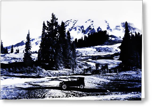 Vintage Mount Rainier With Antique Car Early 1900 Era... Greeting Card by Eddie Eastwood