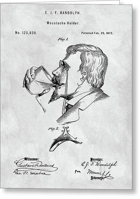 Vintage Moustache Holder Patent Greeting Card