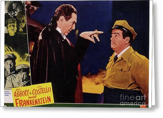 Vintage Movie Posters, Abbott And Costello Meet Frankenstein Greeting Card