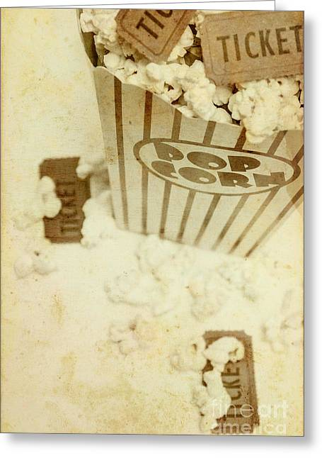 Vintage Movie Tickets And Popcorn Greeting Card by Jorgo Photography - Wall Art Gallery