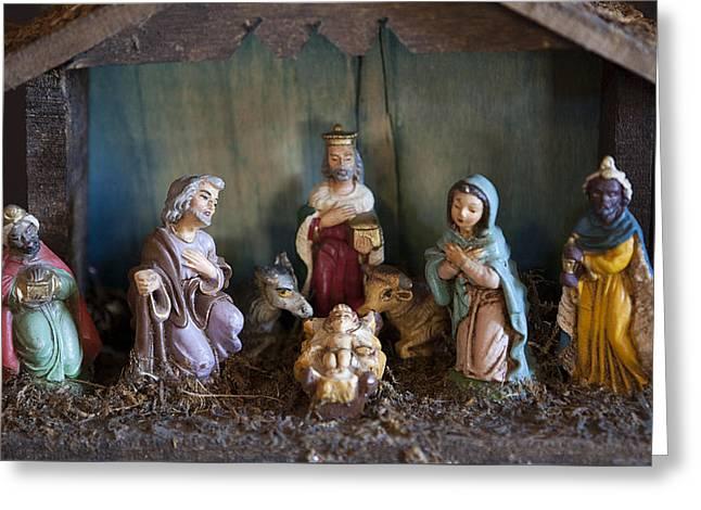 Vintage Nativity Scene Greeting Card by Marilyn Hunt