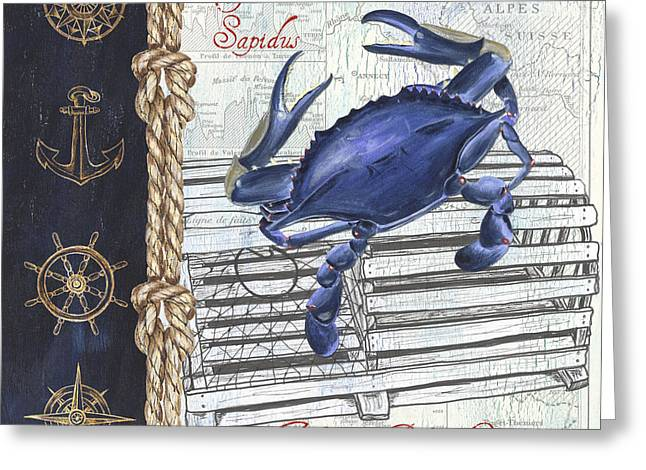 Vintage Nautical Crab Greeting Card by Debbie DeWitt