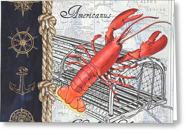 Vintage Nautical Lobster Greeting Card by Debbie DeWitt