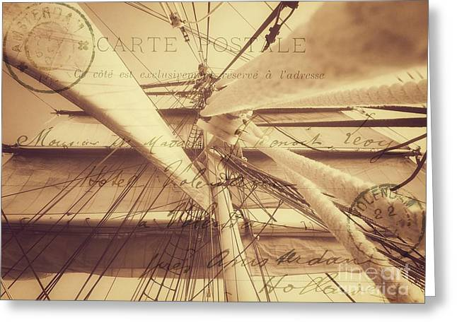 Vintage Nautical Sailing Typography In Sepia Greeting Card