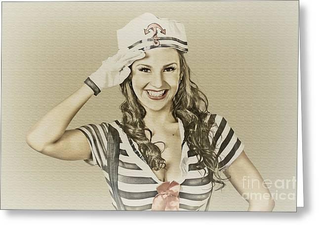 Vintage Navy Sailor Pin Up Girl  Greeting Card