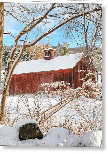 Vintage New England Barn Portrait Greeting Card