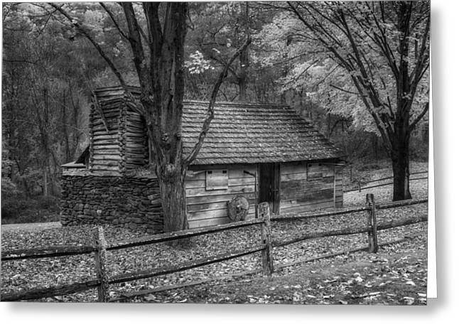 Vintage New England Cabin Bw Greeting Card