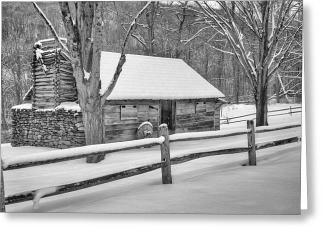 Vintage New England Cabin Winter Bw Greeting Card