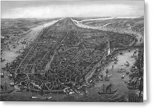 Vintage New York City Map 1873 Greeting Card by Dan Sproul