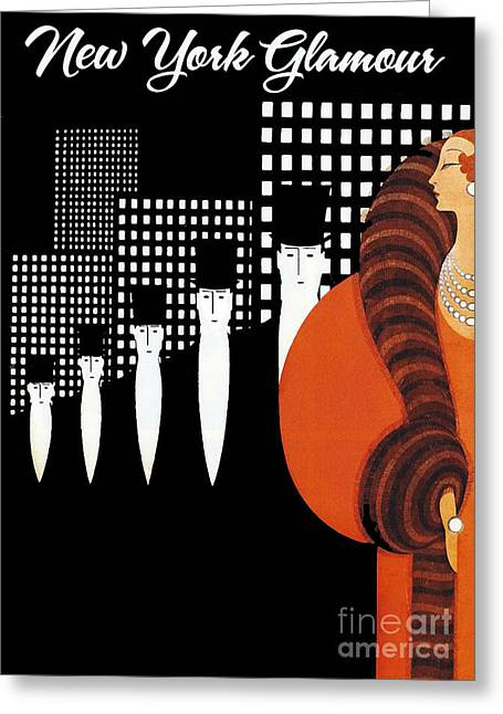 Vintage New York Glamour Art Deco Greeting Card