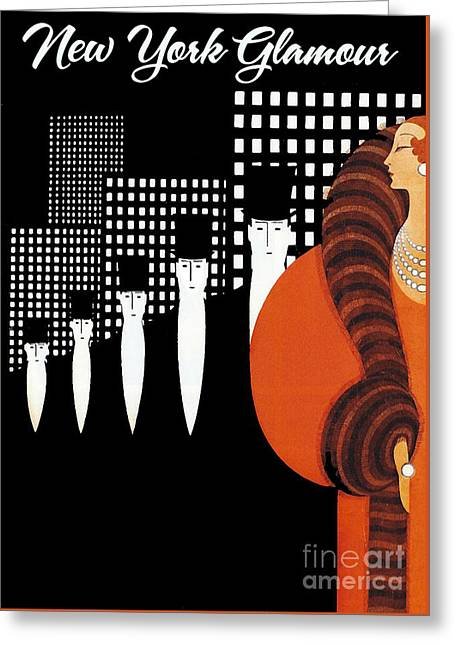 Vintage New York Glamour Art Deco Greeting Card by Mindy Sommers