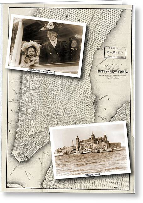 Vintage New York Map With Ellis Island Greeting Card