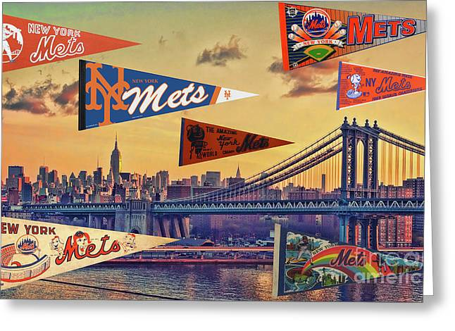 Vintage New York Mets Greeting Card by Steven Parker
